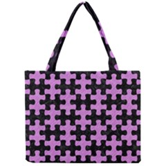 Puzzle1 Black Marble & Purple Colored Pencil Mini Tote Bag by trendistuff
