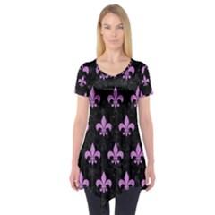 Royal1 Black Marble & Purple Colored Pencil Short Sleeve Tunic  by trendistuff