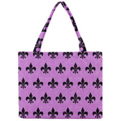 Royal1 Black Marble & Purple Colored Pencil (r) Mini Tote Bag by trendistuff
