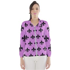 Royal1 Black Marble & Purple Colored Pencil (r) Wind Breaker (women)