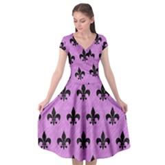 Royal1 Black Marble & Purple Colored Pencil (r) Cap Sleeve Wrap Front Dress