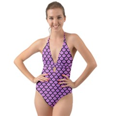 Scales1 Black Marble & Purple Colored Pencil Halter Cut Out One Piece Swimsuit by trendistuff