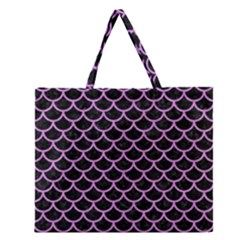Scales1 Black Marble & Purple Colored Pencil (r) Zipper Large Tote Bag by trendistuff