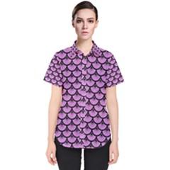 Scales3 Black Marble & Purple Colored Pencil Women s Short Sleeve Shirt by trendistuff