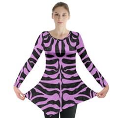 Skin2 Black Marble & Purple Colored Pencil (r) Long Sleeve Tunic  by trendistuff