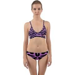 Skin2 Black Marble & Purple Colored Pencil (r) Wrap Around Bikini Set