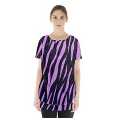Skin3 Black Marble & Purple Colored Pencil (r) Skirt Hem Sports Top