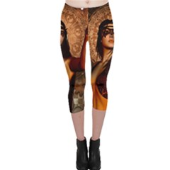 Wonderful Fantasy Women With Mask Capri Leggings  by FantasyWorld7
