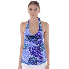 Azurite Blue Flowers Babydoll Tankini Top
