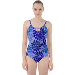 Azurite Blue Flowers Cut Out Top Tankini Set