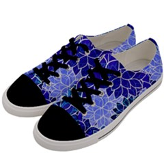 Azurite Blue Flowers Men s Low Top Canvas Sneakers