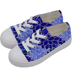 Azurite Blue Flowers Kids  Low Top Canvas Sneakers