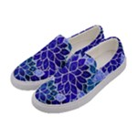 Azurite Blue Flowers Women s Canvas Slip Ons