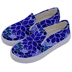 Azurite Blue Flowers Kids  Canvas Slip Ons
