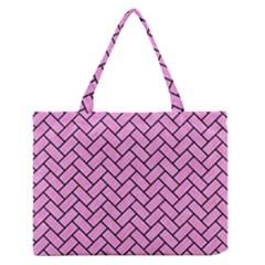 Brick2 Black Marble & Pink Colored Pencil Zipper Medium Tote Bag by trendistuff