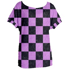 Square1 Black Marble & Purple Colored Pencil Women s Oversized Tee by trendistuff
