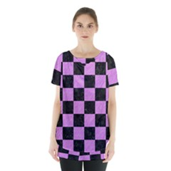 Square1 Black Marble & Purple Colored Pencil Skirt Hem Sports Top by trendistuff