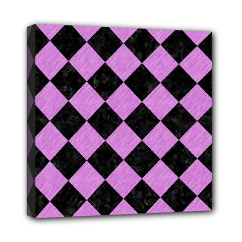 Square2 Black Marble & Purple Colored Pencil Mini Canvas 8  X 8  by trendistuff