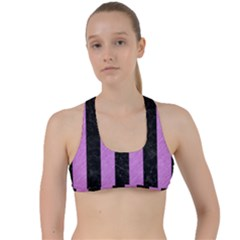 Stripes1 Black Marble & Purple Colored Pencil Criss Cross Racerback Sports Bra