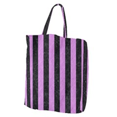 Stripes1 Black Marble & Purple Colored Pencil Giant Grocery Zipper Tote by trendistuff