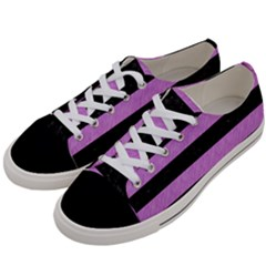 Stripes2 Black Marble & Purple Colored Pencil Women s Low Top Canvas Sneakers by trendistuff