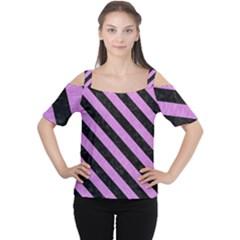 Stripes3 Black Marble & Purple Colored Pencil Cutout Shoulder Tee by trendistuff