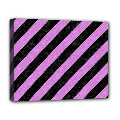 Stripes3 Black Marble & Purple Colored Pencil (r) Deluxe Canvas 20  X 16   by trendistuff