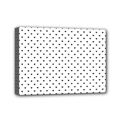 Classic Black Polka Dot Hearts Magic Color Swop Mini Canvas 7  X 5  (stretched) by Beachlux