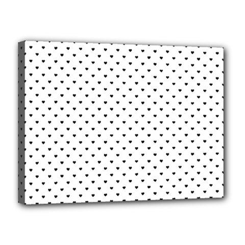 Classic Black Polka Dot Hearts Magic Color Swop Canvas 16  X 12  (stretched) by Beachlux