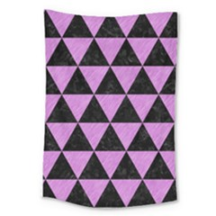 Triangle3 Black Marble & Purple Colored Pencil Large Tapestry by trendistuff