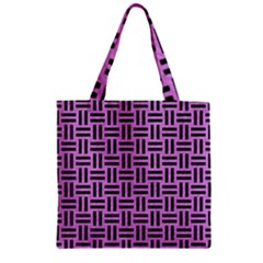 Woven1 Black Marble & Purple Colored Pencil Zipper Grocery Tote Bag by trendistuff