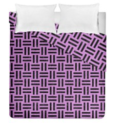 Woven1 Black Marble & Purple Colored Pencil Duvet Cover Double Side (queen Size) by trendistuff