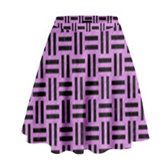 Woven1 Black Marble & Purple Colored Pencil High Waist Skirt by trendistuff