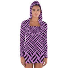 Woven2 Black Marble & Purple Colored Pencil Long Sleeve Hooded T Shirt