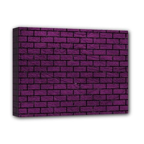 Brick1 Black Marble & Purple Leather Deluxe Canvas 16  X 12   by trendistuff