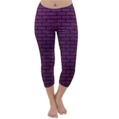 Brick1 Black Marble & Purple Leather Capri Winter Leggings