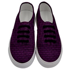 Brick1 Black Marble & Purple Leather Men s Classic Low Top Sneakers