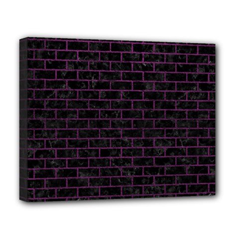 Brick1 Black Marble & Purple Leather (r) Deluxe Canvas 20  X 16   by trendistuff