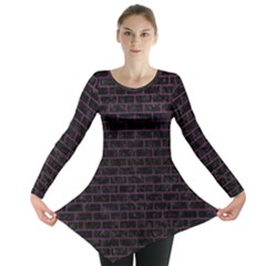 Brick1 Black Marble & Purple Leather (r) Long Sleeve Tunic  by trendistuff