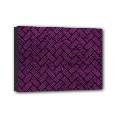 Brick2 Black Marble & Purple Leather Mini Canvas 7  X 5  by trendistuff