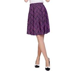 Brick2 Black Marble & Purple Leather A Line Skirt by trendistuff