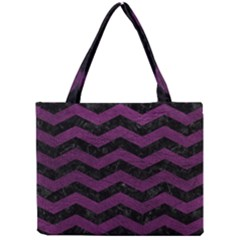 Chevron3 Black Marble & Purple Leather Mini Tote Bag by trendistuff