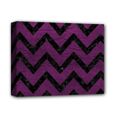 Chevron9 Black Marble & Purple Leather Deluxe Canvas 14  X 11  by trendistuff