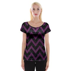Chevron9 Black Marble & Purple Leather (r) Cap Sleeve Tops by trendistuff