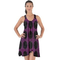 Circles1 Black Marble & Purple Leather Show Some Back Chiffon Dress by trendistuff
