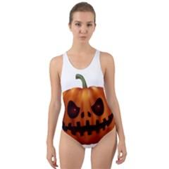Halloween Pumpkin Cut Out Back One Piece Swimsuit by Valentinaart