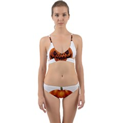 Halloween Pumpkin Wrap Around Bikini Set