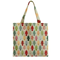Christmas Tree Pattern Zipper Grocery Tote Bag by Valentinaart