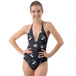 Christmas pattern Halter Cut-Out One Piece Swimsuit
