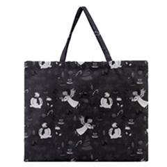 Christmas pattern Zipper Large Tote Bag